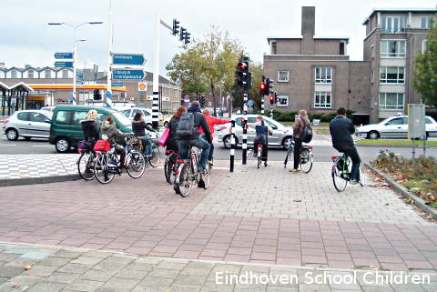 Dutch school children on bicycles