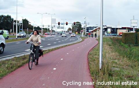 Cycling near industrial estate