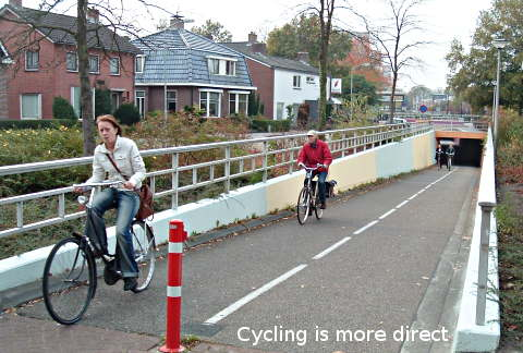 Cyclists have more direct routes