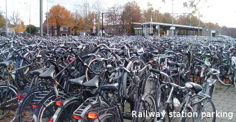 Railway station cycle parking