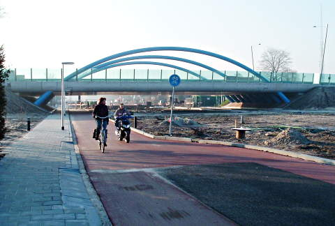 Bridge taking road over cycle path