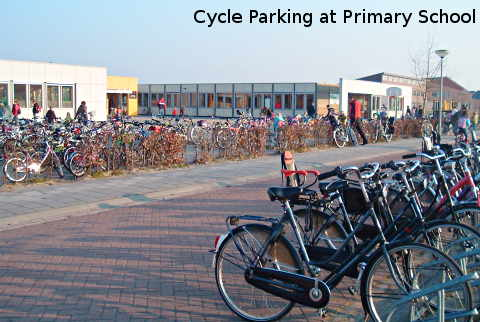 Bicycles parked at school in the Netherlands. Cycling to school.