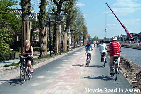Bicycle Road in Assen, Netherlands